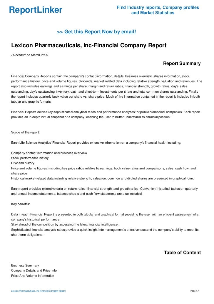 Lexicon Pharmaceuticals, Inc-Financial Company Report