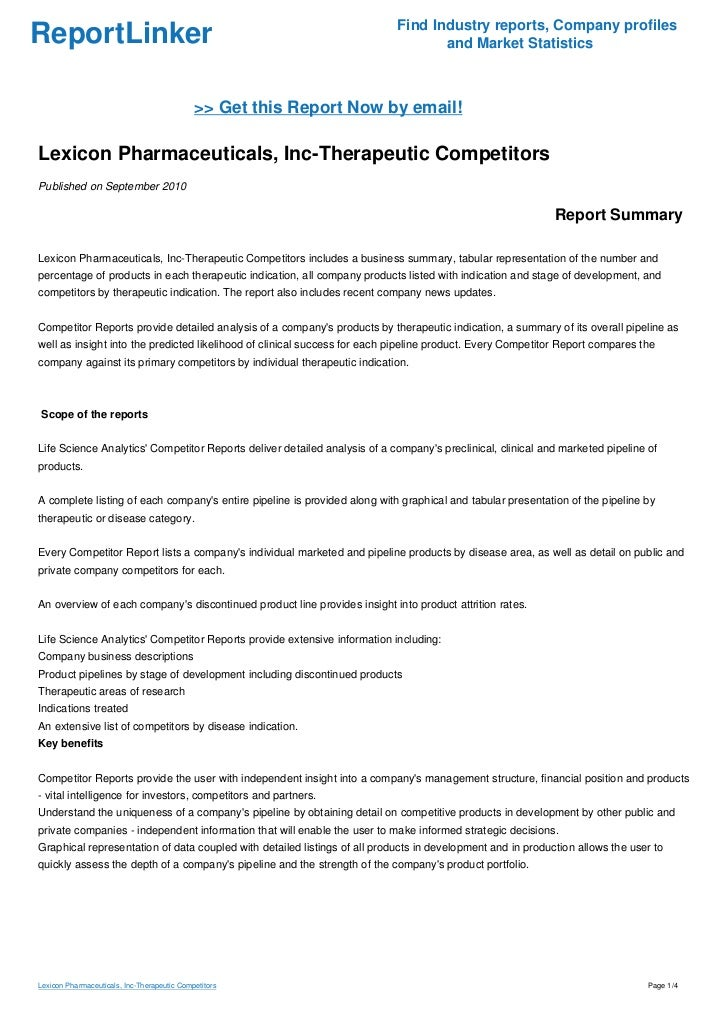 Lexicon Pharmaceuticals, Inc-Therapeutic Competitors