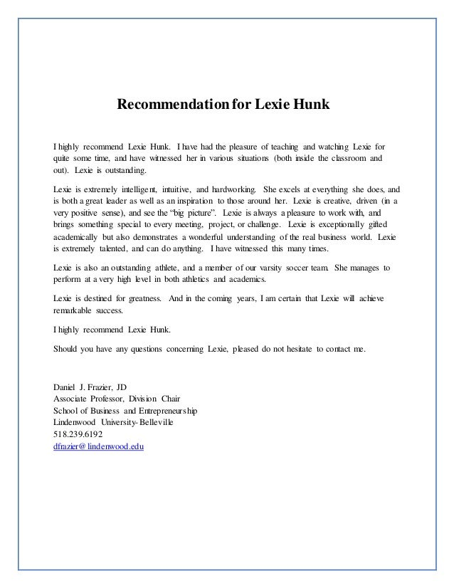 lexie hunk resume and recommendation