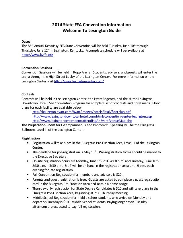 2014 State FFA Convention Information Welcome To Lexington Guide Dates The 85th Annual Kentucky FFA State Convention will ...