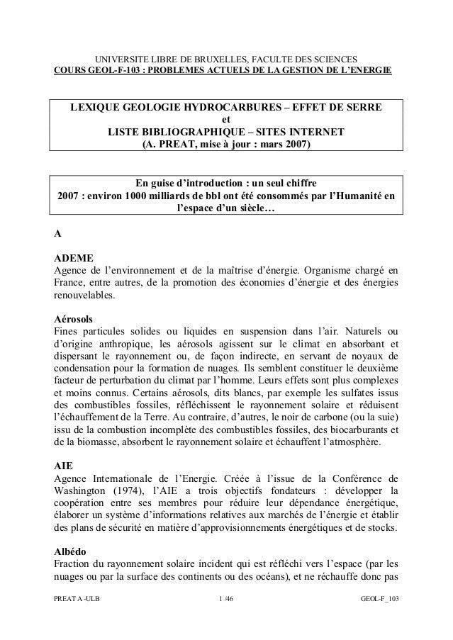 PREAT A -ULB 1 /46 GEOL-F_103 UNIVERSITE LIBRE DE BRUXELLES, FACULTE DES SCIENCES COURS GEOL-F-103 : PROBLEMES ACTUELS DE ...
