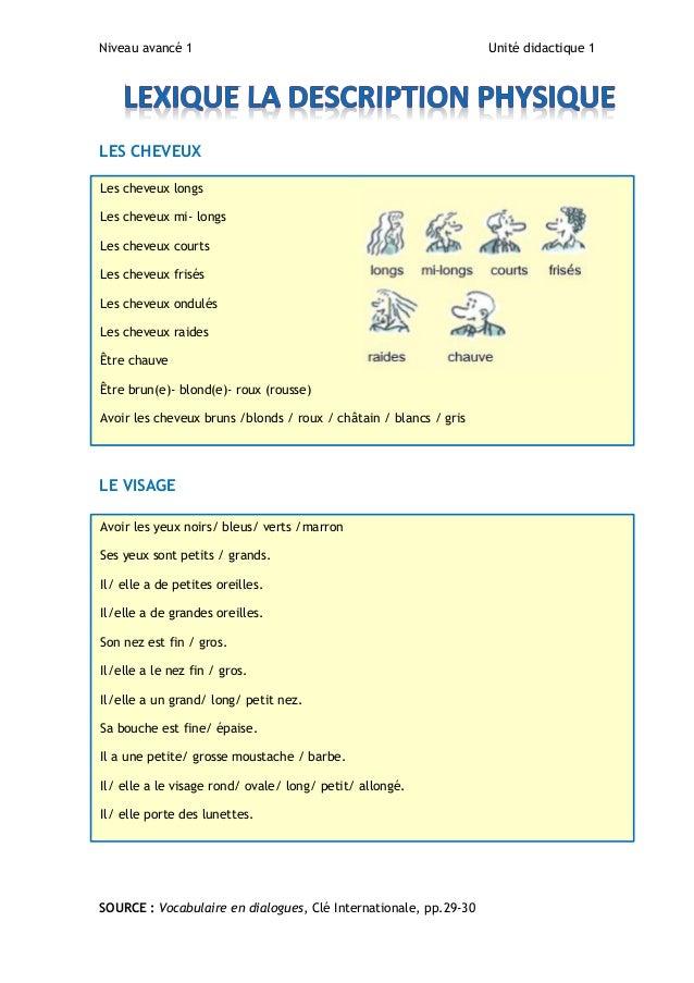 Niveau avancé 1 Unité didactique 1 LES CHEVEUX LE VISAGE SOURCE : Vocabulaire en dialogues, Clé Internationale, pp.29-30 L...