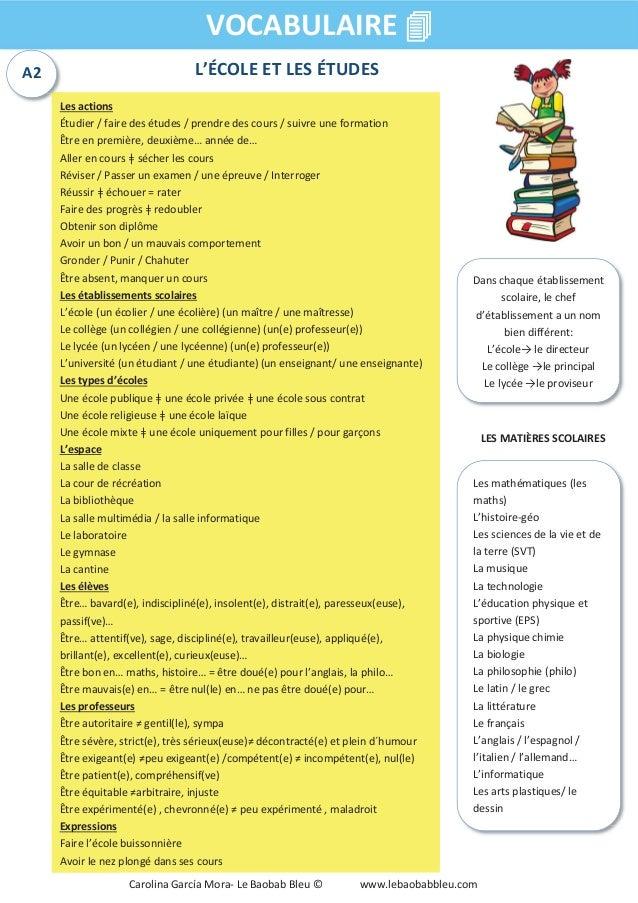 L'ÉCOLE ET LES ÉTUDES VOCABULAIRE 4 Les actions Étudier / faire des études / prendre des cours / suivre une formation Être...
