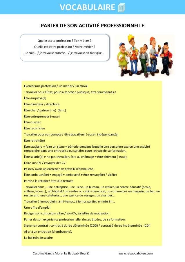 PARLER DE SON ACTIVITÉ PROFESSIONNELLE VOCABULAIRE Quelle est ta profession ? Ton métier ? Quelle est votre profession ? V...
