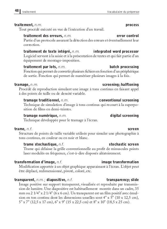 Lexique Prepresse Bilingue Anglais