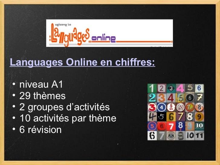 <ul><ul><li>niveau A1 </li></ul></ul><ul><ul><li>29 thèmes </li></ul></ul><ul><ul><li>2 groupes d'activités </li></ul></ul...