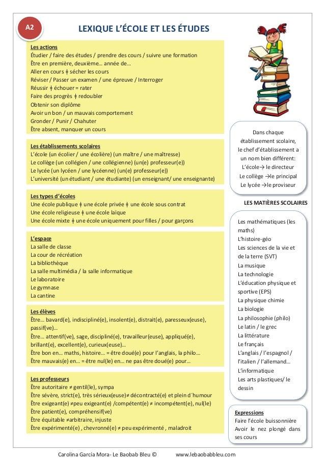 LEXIQUE L'ÉCOLE ET LES ÉTUDES Les actions Étudier / faire des études / prendre des cours / suivre une formation Être en pr...