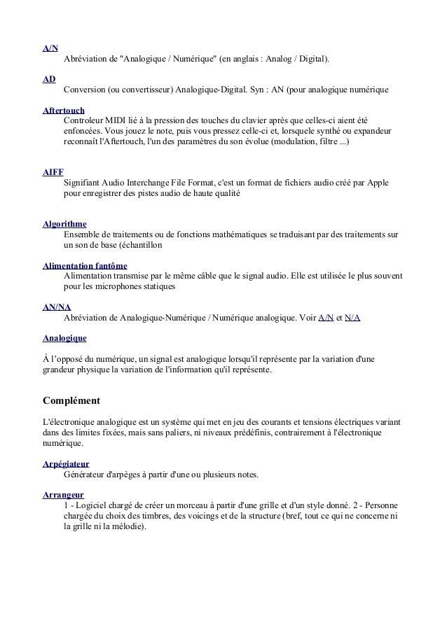 """A/N Abréviation de """"Analogique / Numérique"""" (en anglais : Analog / Digital). AD Conversion (ou convertisseur) Analogique-D..."""