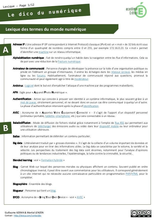 Lexique des termes du monde numérique  Guillaume AZEMA & Martial LENZEN  Contact : http://doiop.com/contactjbc  Adresse IP...