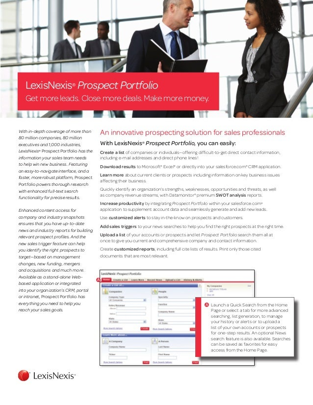 LexisNexis®Prospect PortfolioGet more leads. Close more deals. Make more money.With in-depth coverage of more than80 milli...