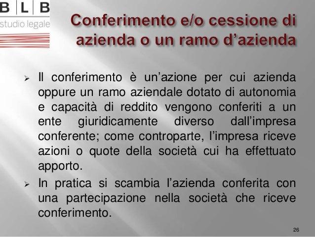  Il conferimento è un'azione per cui azienda oppure un ramo aziendale dotato di autonomia e capacità di reddito vengono c...