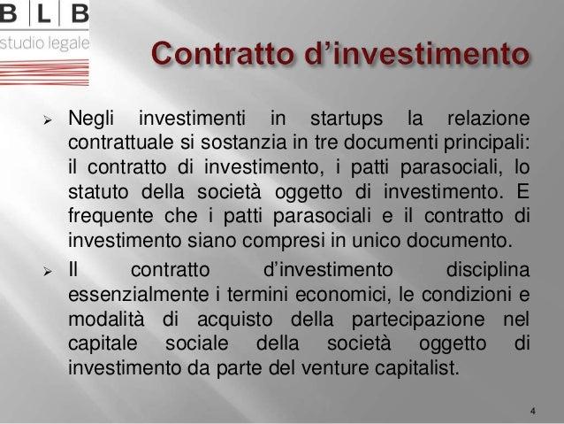  Negli investimenti in startups la relazione contrattuale si sostanzia in tre documenti principali: il contratto di inves...