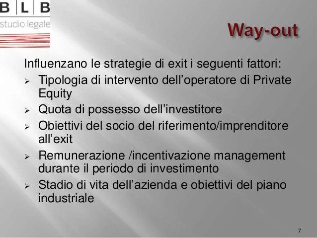 Influenzano le strategie di exit i seguenti fattori:  Tipologia di intervento dell'operatore di Private Equity  Quota di...