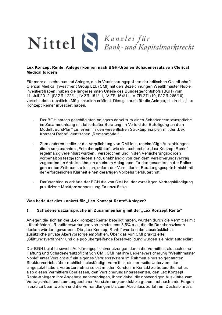 Lex Konzept Rente: Anleger können nach BGH-Urteilen Schadenersatz von ClericalMedical fordernFür mehr als zehntausend Anle...