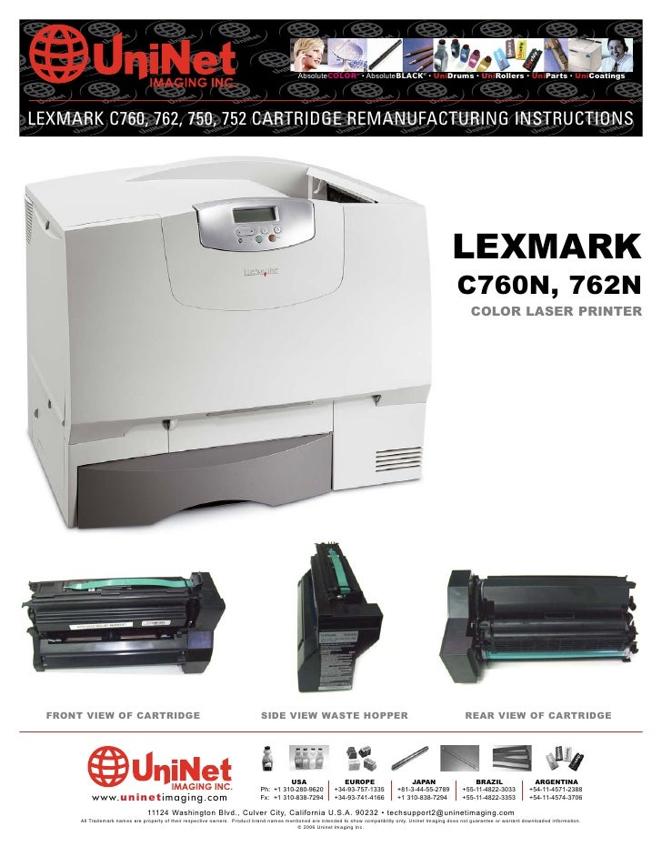 AbsoluteCOLOR® • AbsoluteBLACK® • UniDrums • UniRollers • UniParts • UniCoatings     LEXMARK C760, 762, 750, 752 CARTRIDGE...