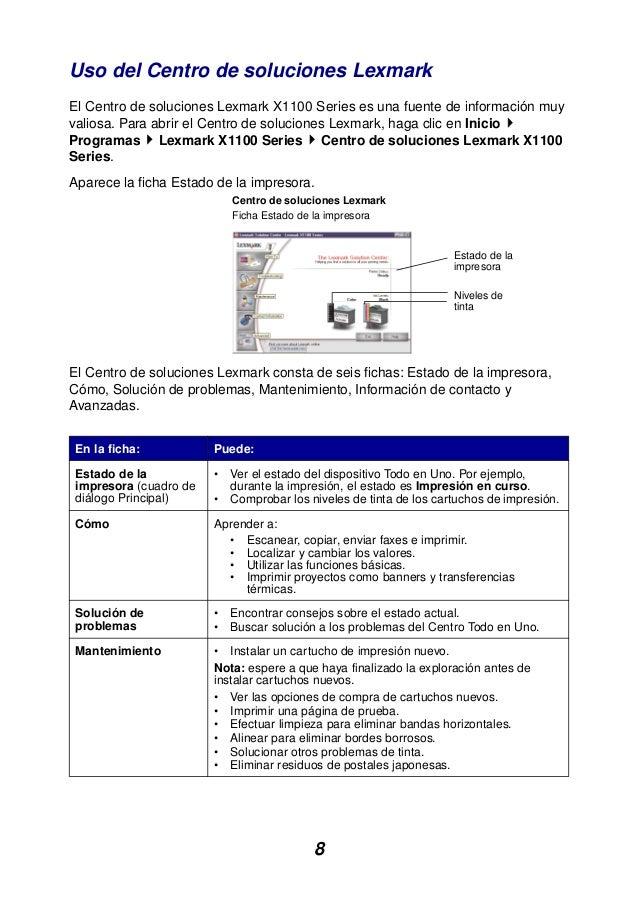 8 Uso del Centro de soluciones Lexmark El Centro de soluciones Lexmark X1100 Series es una fuente de información muy valio...