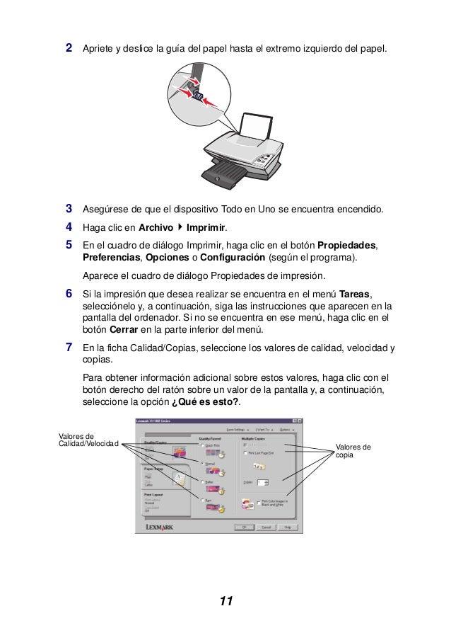11 2 Apriete y deslice la guía del papel hasta el extremo izquierdo del papel. 3 Asegúrese de que el dispositivo Todo en U...
