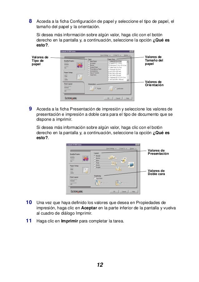 12 8 Acceda a la ficha Configuración de papel y seleccione el tipo de papel, el tamaño del papel y la orientación. Si dese...
