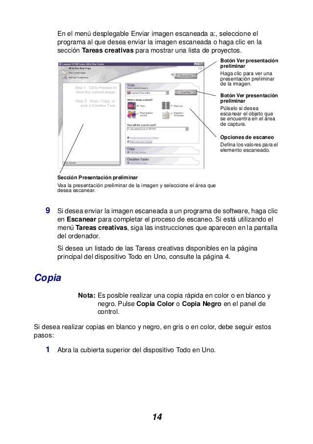 14 En el menú desplegable Enviar imagen escaneada a:, seleccione el programa al que desea enviar la imagen escaneada o hag...