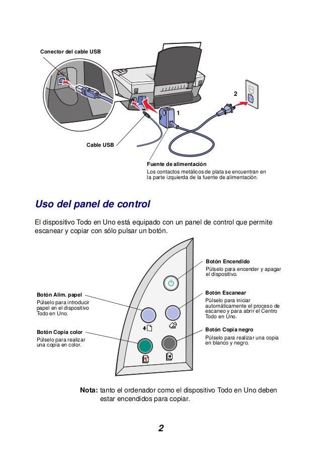 2 Uso del panel de control El dispositivo Todo en Uno está equipado con un panel de control que permite escanear y copiar ...