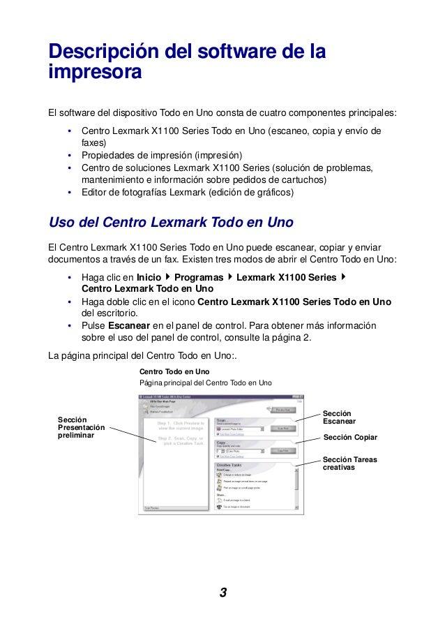 3 Descripción del software de la impresora El software del dispositivo Todo en Uno consta de cuatro componentes principale...