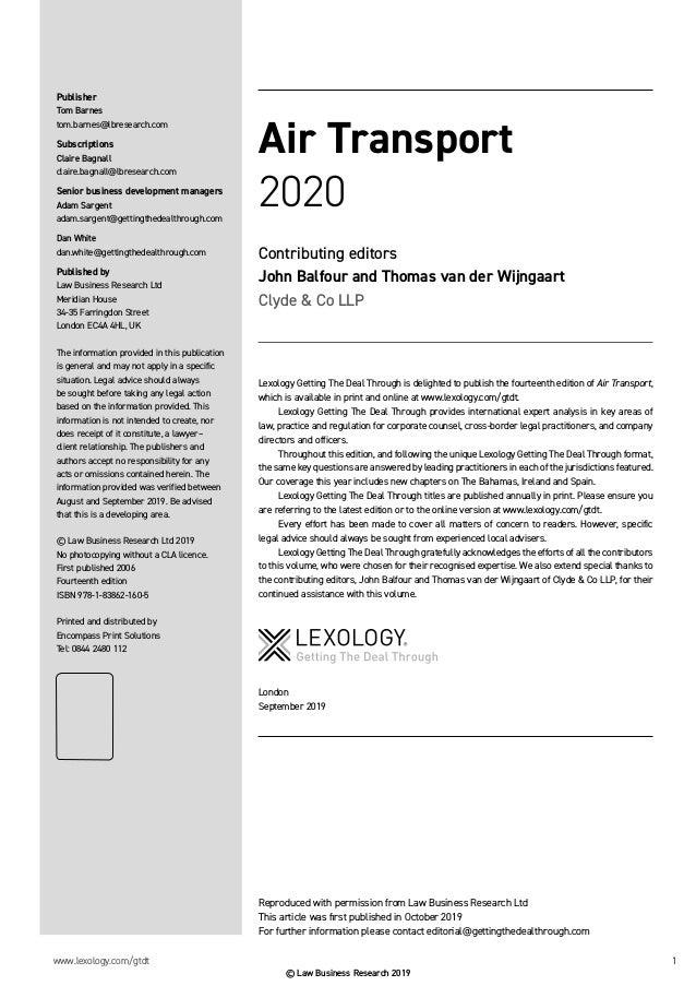 Lexology Getting the Deal Through Air Transport 2020 Slide 2