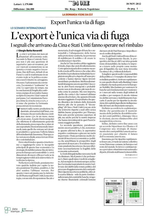 Lettori: 1.179.000                                     10-NOV-2012Diffusione: 266.088   Dir. Resp.: Roberto Napoletano   d...