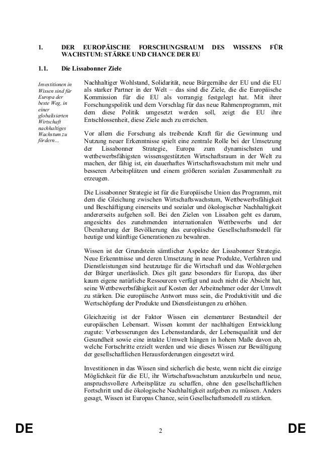 1.  DER EUROPÄISCHE FORSCHUNGSRAUM WACHSTUM: STÄRKE UND CHANCE DER EU  1.1.  Die Lissabonner Ziele  Investitionen in Wisse...
