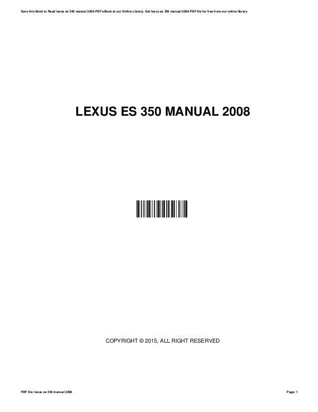 Lexus es350 repair manual 2007 2012.