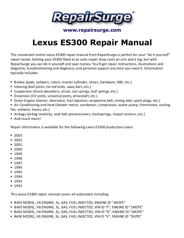 lexus es300 repair manual 1992 2003 rh slideshare net Lexus RX300 Repair Manual 2002 lexus rx300 repair manual pdf