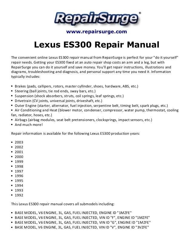 Lexus es300 repair manual 1992 2003 repairsurge lexus es300 repair manual the convenient online lexus es300 repair manual fandeluxe Choice Image