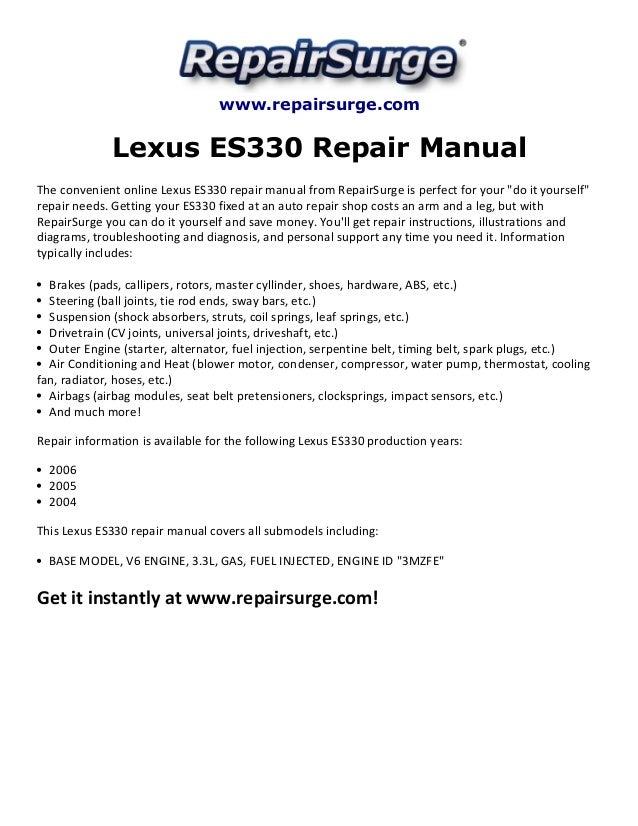 lexus es330 repair manual 2004 2006 rh slideshare net lexus es 330 service manual download lexus es330 repair manual pdf
