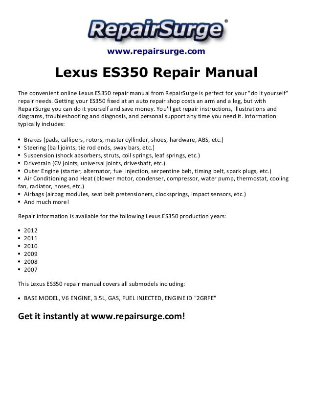 lexus es350 repair manual 2007 2012 rh slideshare net 2000 Toyota Camry Engine Diagram 1999 Lexus RX300 Parts Diagram