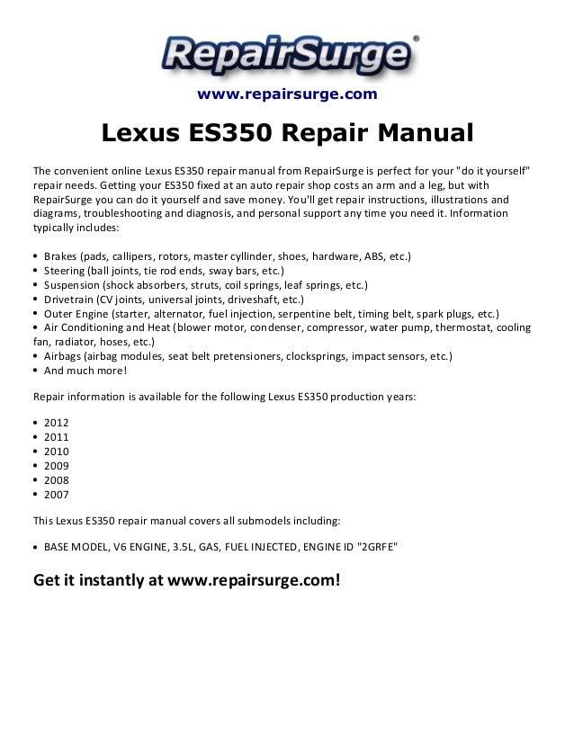 lexus es350 repair manual 2007 2012 rh slideshare net 2010 Lexus ES 350 2011 lexus es 350 repair manual