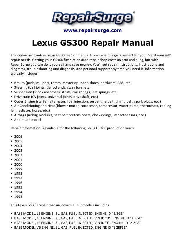 lexus gs300 repair manual 1993 2006 rh slideshare net 94 Lexus ES300 Service Manual 94 Lexus ES300 Service Manual