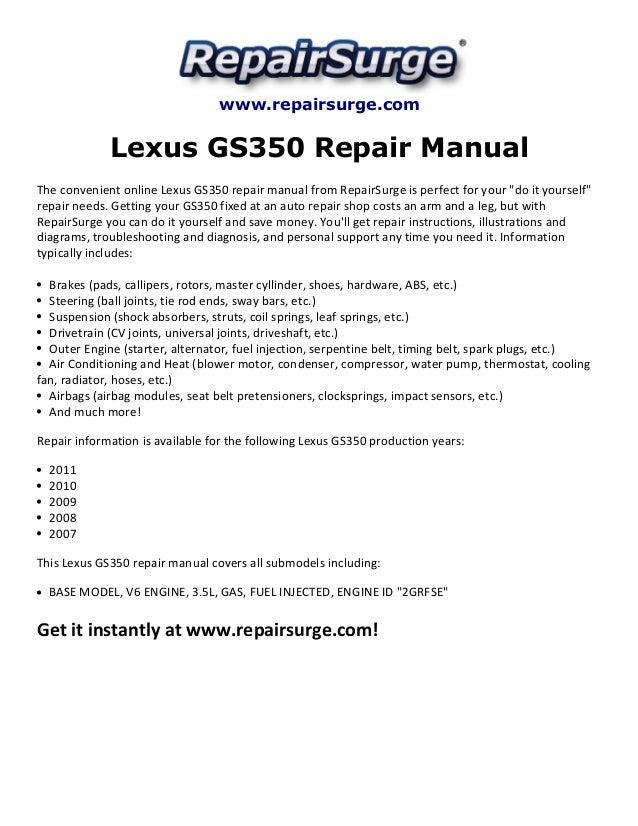 Lexus gs350 repair manual 2007 2011