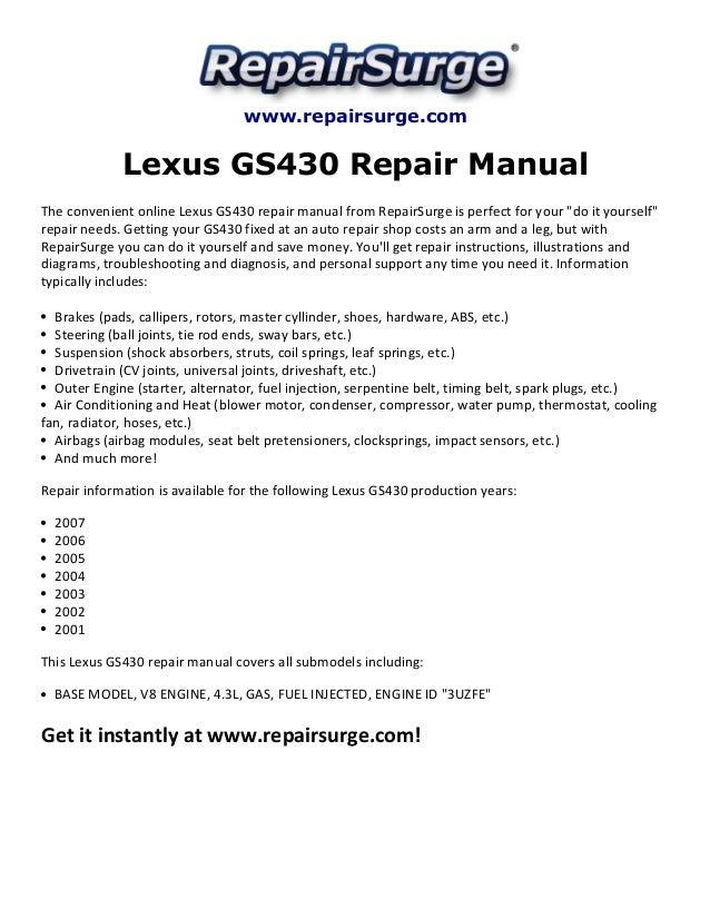 Repairsurge Lexus Gs430 Repair Manual The Convenient Online: Lexus Gs430 Engine Diagram At Executivepassage.co