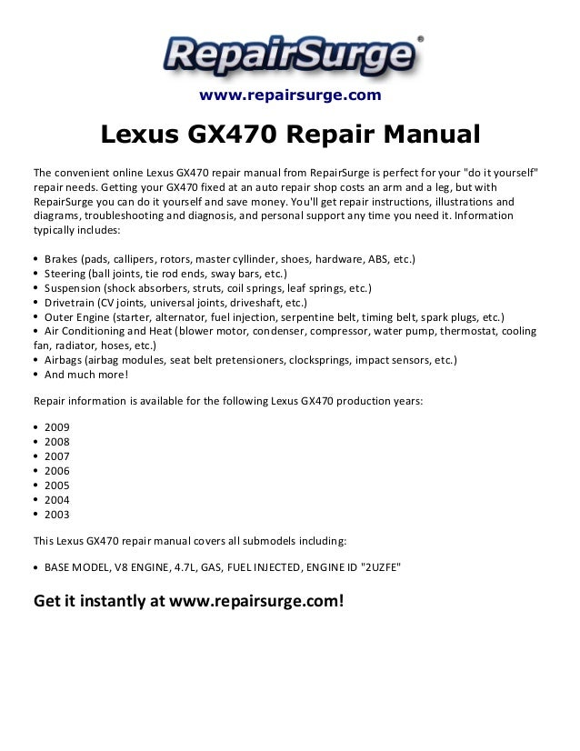 2006 Lexus Gx470 Engine Diagram Wiring Diagrams Free. Lexus Gx470 Repair Manual 2003 2009rhslideshare 2006 Engine Diagram At GMaili. Wiring. Gx470 Fuse Diagram At Scoala.co