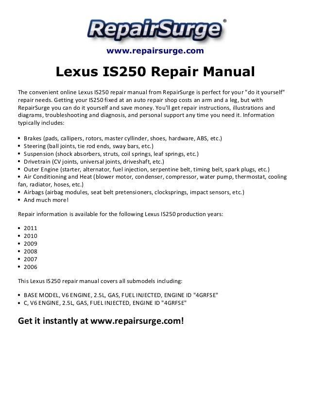 lexus is250 repair manual 2006 2011 rh slideshare net 2007 lexus is 250 repair manual pdf 2007 lexus is 250 service manual pdf
