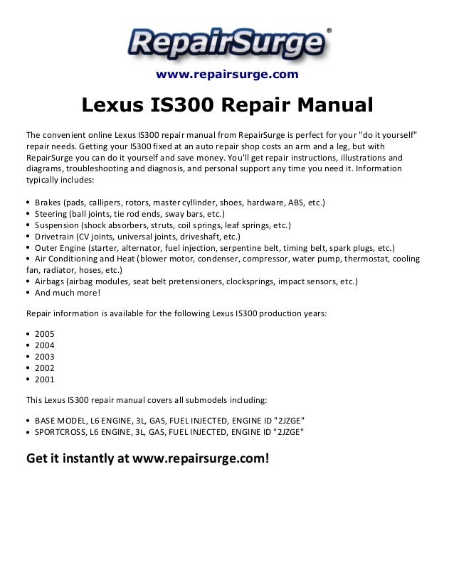 lexus is300 repair manual 2001 2005 rh slideshare net Lexus IS300 Parts Catalog Lexus IS300 Turbo