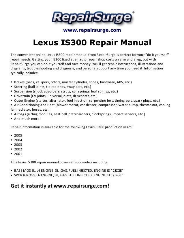lexus is300 repair manual 2001 2005 rh slideshare net 2004 lexus is300 owners manual pdf 2002 lexus is300 owner's manual