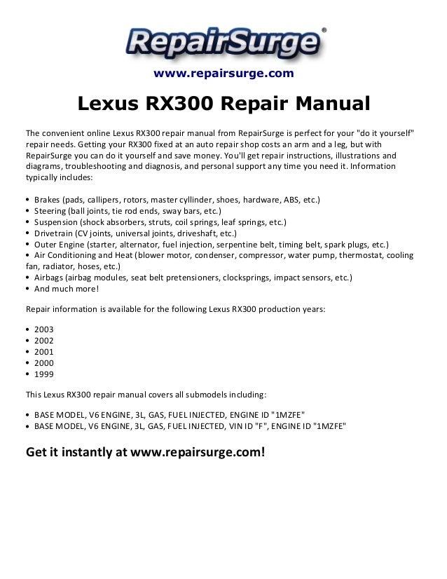 lexus rx300 repair manual 1999 2003 rh slideshare net 2000 lexus rx300 owners manual 2000 lexus rx300 owners manual