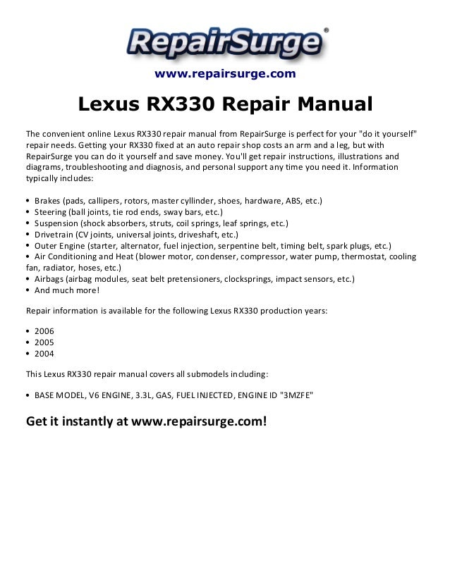 lexus rx330 repair manual 2004 2006 rh slideshare net 2004 lexus rx330 owners manual pdf 2004 lexus rx330 service manual download