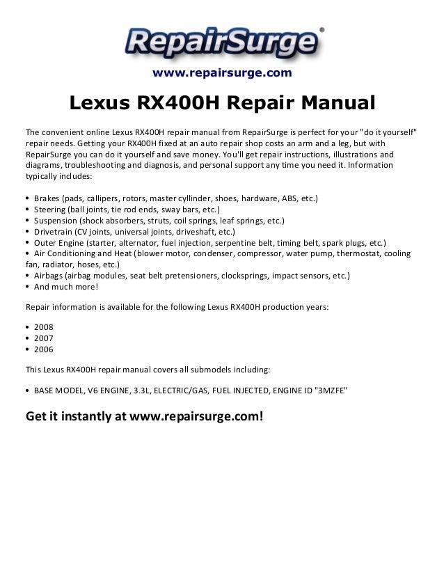 lexus rx400 h repair manual 2006 2008 rh slideshare net lexus rx 400h workshop manual lexus rx400h repair manual pdf