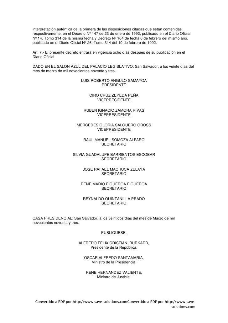 interpretación auténtica de la primera de las disposiciones citadas que están contenidas respectivamente, en el Decreto Nº...
