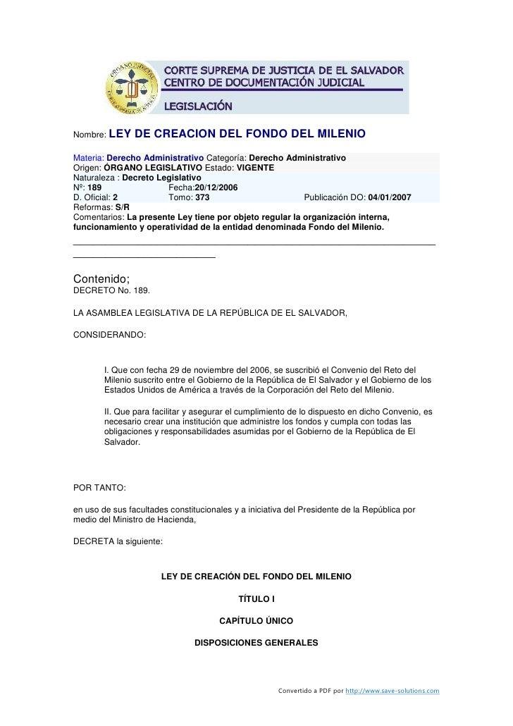 Nombre: LEY     DE CREACION DEL FONDO DEL MILENIO Materia: Derecho Administrativo Categoría: Derecho Administrativo Origen...