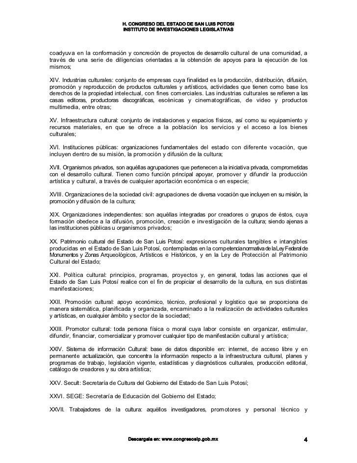 Ley De Cultura Para El Estado Y Municipios De San Luis Potosi