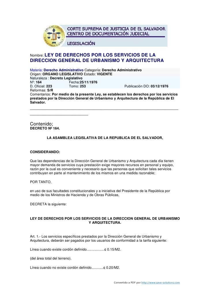 Nombre: LEY          DE DERECHOS POR LOS SERVICIOS DE LA DIRECCION GENERAL DE URBANISMO Y ARQUITECTURA Materia: Derecho Ad...