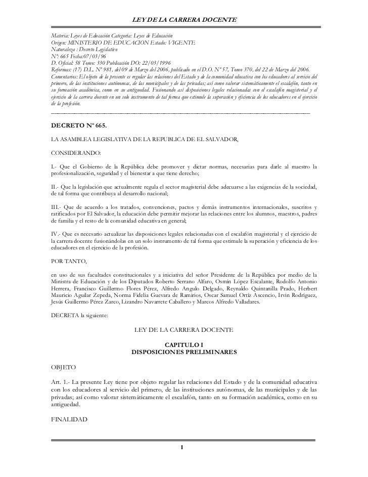 LEY DE LA CARRERA DOCENTEMateria: Leyes de Educación Categoría: Leyes de EducaciónOrigen: MINISTERIO DE EDUCACION Estado: ...