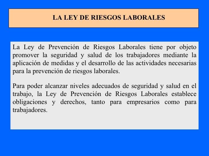 La Ley de Prevención de Riesgos Laborales tiene por objeto promover la seguridad y salud de los trabajadores mediante la a...